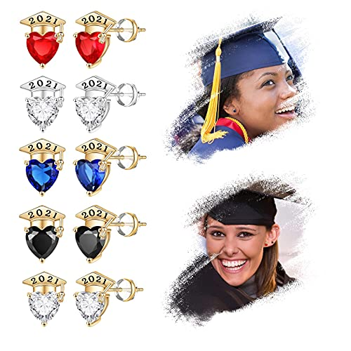 5PC Mortilo 2021 women's heart-shaped earrings, plated with crystals, decorated with college graduate jewelry gifts, for teachers/classmates/girlfriends (Multicolor)