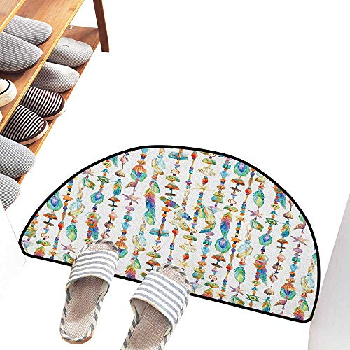 (Axbkl Modern Door mat Feather Watercolor Style Figures with Sea Shells Nautical Boho Style Chains Pendant Pattern Indoor Outdoor, Waterproof, Easy Clean W36 xL24 Multicolor)