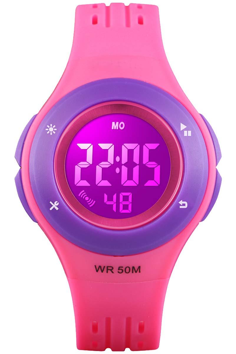 Kid Watch 50M Waterproof Sport LED Alarm Stopwatch Digital Child Quartz Wristwatch for Boy Girl Rose Purple