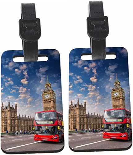 Rikki Knight London Bus Parliament Backdrop Design Design Luggage Identifier Tag (1-sided) - with Strap Closure (Set of 4)