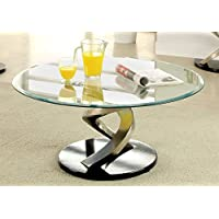 Furniture of America Kalliope Modern Coffee Table, Metallic Finish