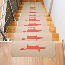 LianLe 15PCS Stair Treads Mats Non-Slip Carpet Staircases Mats Washable Stairs Rugs Runners, beige