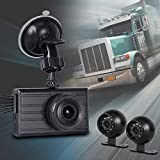 VSYSTO 3 Channel Camera Full HD Mobile Car DVR Dash Cam Recording System (1080P+VGA+VGA), with Dual Waterproof Infrared Night Vision Lens, 3.0 Inch Monitor for Truck Van Trailer