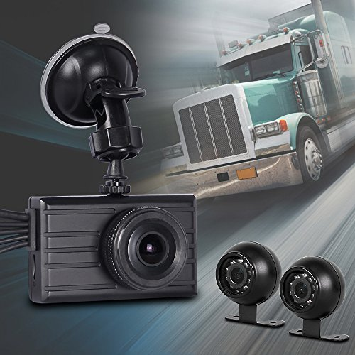 VSYSTO 3 Channel Camera Full HD Mobile Car DVR Dash Cam Recording System (1080P+VGA+VGA), with Dual Waterproof Infrared Night Vision Lens, 3.0 Inch Monitor for Truck Van - Rh Switch Remote Track