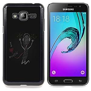 I Love Music Caja protectora de pl??stico duro Dise?¡Àado King Case For Samsung Galaxy J3