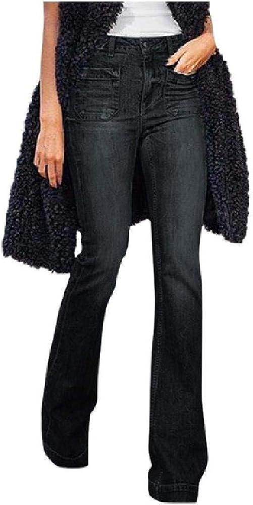 Mujeres Destoryed Flare Jeans Botón Cintura Campana Pantalones de Mezclilla Inferiores Pantalones Casuales de Mujer Leggings Deportivos de Verano