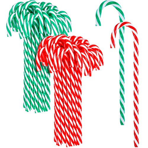 Hicarer 50 Pieces Christmas Plastic Candy Cane Christmas Tree Hanging Ornaments for Holiday Party Decoration Favors (Red and White, Green and White)