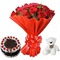 Sattva Flower Boutique 12 Red Roses, 6 Inch Teddy Plushy And Half Kg Black Forest Cake (Cakes and Fresh Flowers - Within 24 hrs Delivery Available Only In Chennai)
