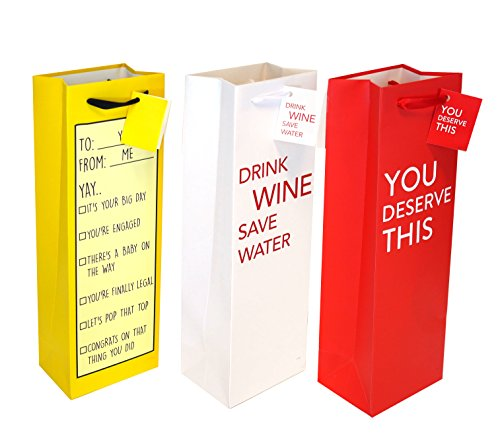 Wine Gift Bags, Liquor or Beer Gift Bags, Single Bottle Tote Perfect for Weddings, Birthdays, Housewarming and Dinner Parties (Set C, 12 CT)