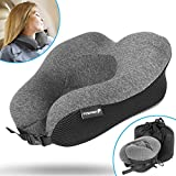Travel Neck Pillow, Fosmon Soft and Comfortable Memory Foam Neck Cushion, Head & Chin Support Travel Pillow, Machine Washable 100% Cotton Cover for Travelling Flying Airplane Flight Car Bus Train Ride - Dark Grey / Black
