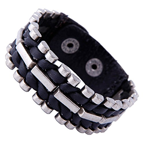 Unusual Genuine Leather & Metal Cuff Men's Bracelet by Urban Jewelry (Black, Silver)
