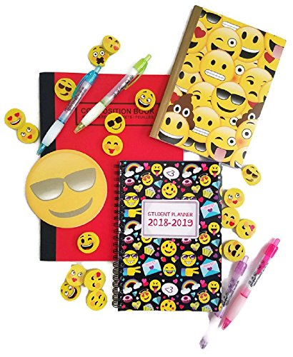 Emoji Back to School Bundle of 6 Includes Composition Notebook, Journal, Student Planner, Sticky Pad, Pens and Erasers - Expressions May Very by Greenbrier