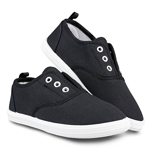 - Chillipop Slip-On Laceless Fashion Sneakers for Girls, Boys, Toddlers & Kids Black/White