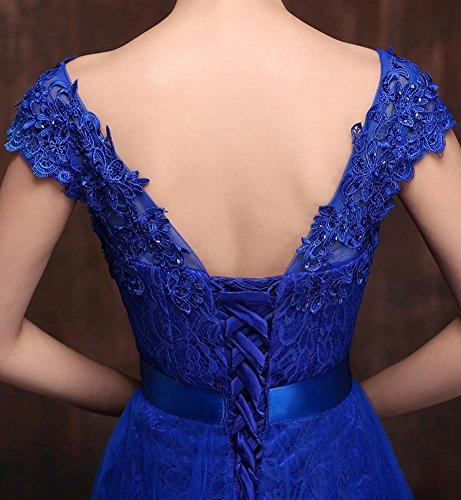 Beauty Brautjunfer Kleid Emily Hülsenrhinestone Kappen Applique Spitze Königsblau YqwgxXYFr