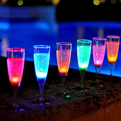 Modern Home Set of 6 Color LED Champagne Glasses]()