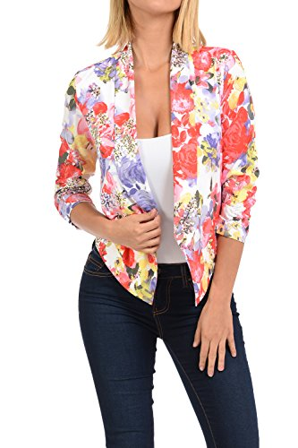 Auliné Collection Womens Casual Lightweight 3/4 Sleeve Fitted Open Blazer Floral Print 21 Medium