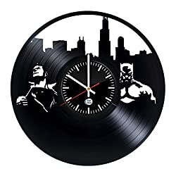 BATMAN VS SUPERMAN DC Vinyl Record Wall Clock - Get unique living room wall decor - Gift ideas for boys and girls – Large Cool Unique Modern Art