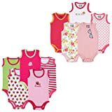 Luvable Friends Baby 5-Pack Lightweight Sleeveless Bodysuits, Girl Sunglasses Pink, 3-6 Months