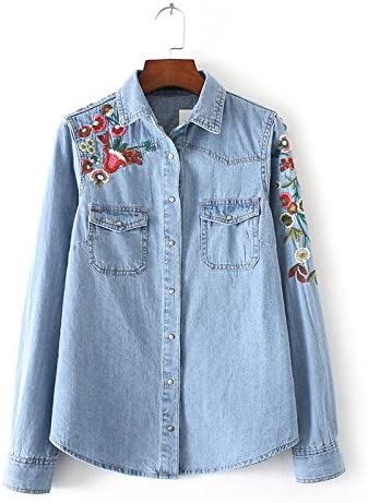 Thk & M Mujer Jeans Camisa con bordado bolsillo en el pecho Tops, L, color azul: Amazon.es: Deportes y aire libre