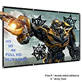120 inch Projector Screen, 16:9 HD, Foldable Anti-Crease Portable Projector Movies Screen - Full Down Rear & Front Support Double Sided Projection for Home Theater Outdoor Indoor, 1.1lbs (120 inch)