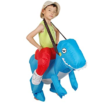 ADATEN Disfraz Inflable Carnaval Fiesta Dinosaurio Azul Cosplay ...