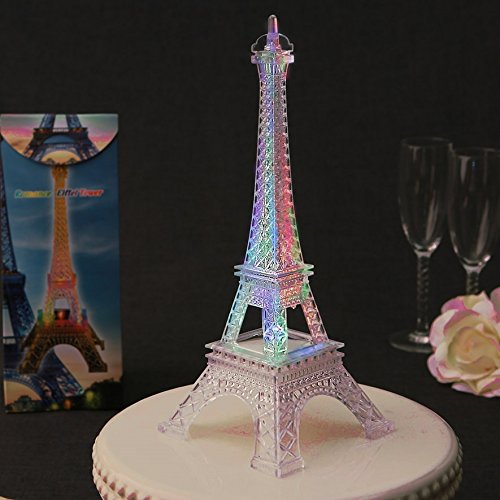 Eiffel Tower - Replica - 10'' high x 4'' square at base - Plastic, lights up, flashes by Fashioncraft