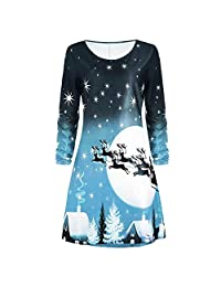 Women Christmas Print Long Sleeve Dress Evening Party Knee Length Dress
