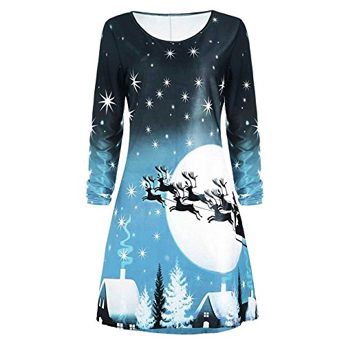 - Sunhusing Ladies Christmas Print Long Sleeve Dress Female Evening Party Knee-Length A-Line Gown