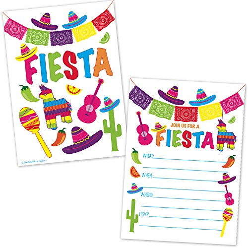 Fiesta Party Invitations - Fill in the Blank Style - Cinco de Mayo - Mexican Fiesta Theme Birthday Invites for Kids and Adults (20 Count with Envelopes) (Cinco De Mayo Birthday Invitations)