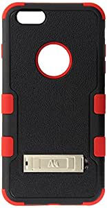 MyBat Tuff Hybrid Phone Protector Cover with Stand for iPhone 6 Plus - Retail Packaging - Natural Black/Red