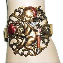 VICTORIAN CUPID RED HEART BRACELET Brass Adjustable Cuff WIDE