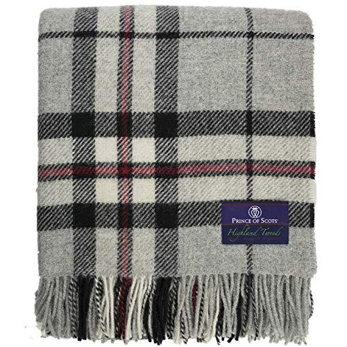 (Prince of Scots Highland Tartan Tweed 100% Pure New Wool Throw ~ Grey Thompson ~)