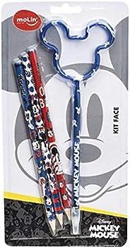 Molin Kit Escolar Mickey 3 lapis + 1caneta - 1 Kit, Multicores, 4 unidades