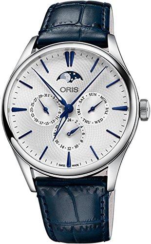 Oris-Artelier-Complication-Stainless-Steel-40mm-Watch-on-Dark-Blue-Leather-Strap