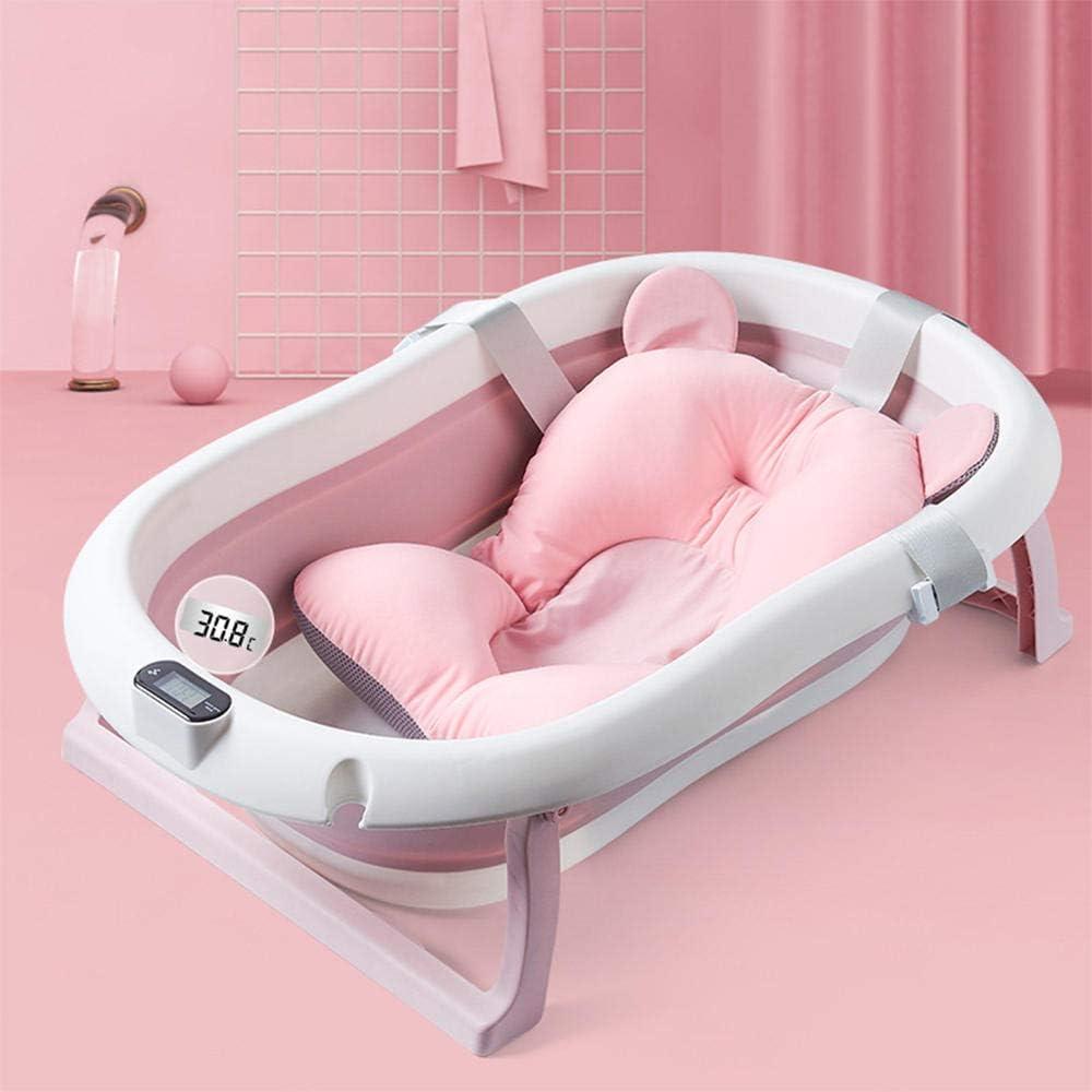 Lavabo de ducha plegable para bebés, bañera antideslizante con detección de temperatura en tiempo real, asiento con borde y reposacabezas suave, para niños pequeños de 0 a 3 años