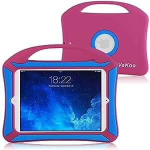 VAKOO iPad Mini Case, iPad Mini 3 2 1 Case Kids Proof Shockproof Drop Proof Soft Silicone Portable Light Weight Handle Case Cover for iPad Mini 3, iPad Mini Retina Display and iPad Mini (Pink/Blue)