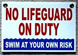 1 Pc Paradisiacal Popular No Lifeguard Duty Sign Outdoor Declare Swim Board Warning Message Size 8'' x 12'' with Grommets