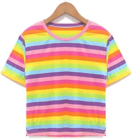 DAIDAINDX Camiseta De Moda para Mujer Casual Color Arcoíris Estampado A Rayas De Manga Corta: Amazon.es: Deportes y aire libre