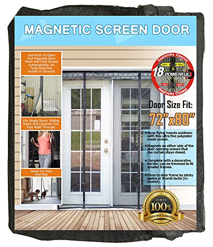 N-Green Double Door Magnetic Screen - Heavy Duty Mesh Curtain with Full Frame Velcro and Powerful Magnets that Snap Shut Automatically for Patio, Sliding, French Door (Fits doors up to 72''x80'' Max) by N-Green