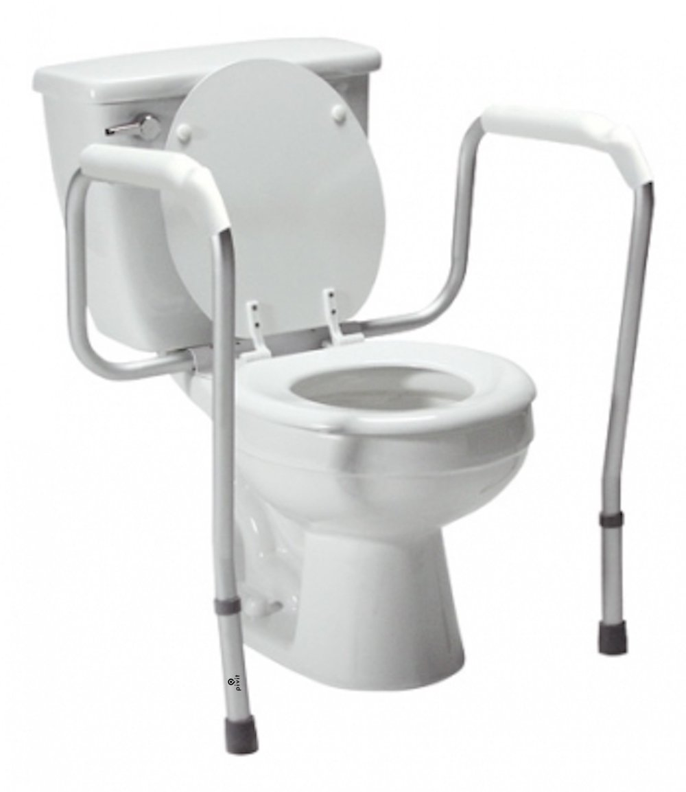 Pivit Adjustable Height Toilet Safety Rails | Tool-Free Assembly Fits All Standard Toilets | Rust Resistant Anodized Frame | Sit & Stand Safely Comfortable Non Slip Handles | Lifetime Limited Warranty
