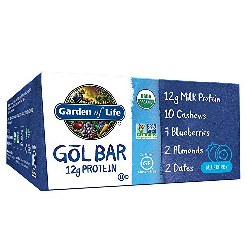 Garden of Life Organic GOL Bars - Chewy High Protein Whole Food Bar - Blueberry (12 per Carton) | Certified Organic, Non-GMO & Gluten Free, No Added Sugar - 12g Milk Protein, Cashews, Almonds & Dates
