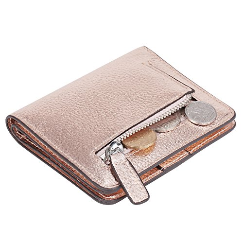 AINIMOER Big Sale Women's RFID Blocking Leather Small Compact Bifold Pocket Wallet Ladies Mini Purse with id Window (Champaign Gold) by AINIMOER (Image #5)