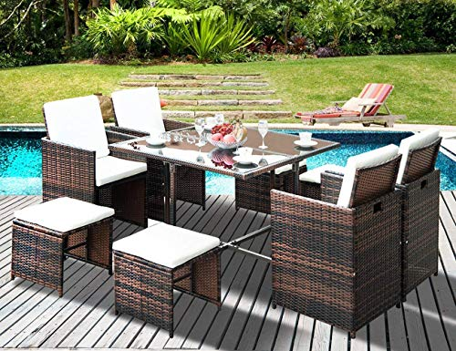 Set Table Dining Outdoor (LZ LEISURE ZONE 9 Piece Patio Furniture Dining Set Outdoor Garden Wicker Rattan Dining Table Chairs Conversation Set with Cushions (9 Piece, Beige Cushion))
