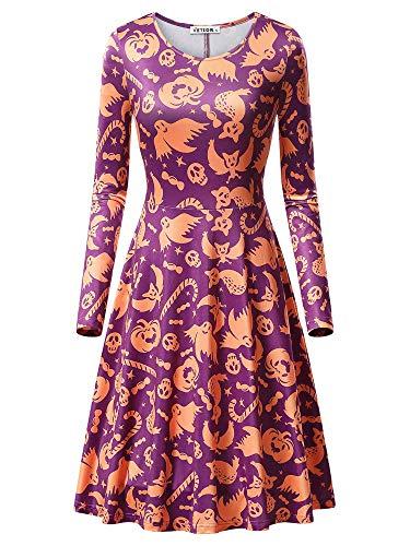 VETIOR Ghost Print Dress, Women's Slim Fit Round Neckline Flared Fanshion Dress 17049-6 X-Large -