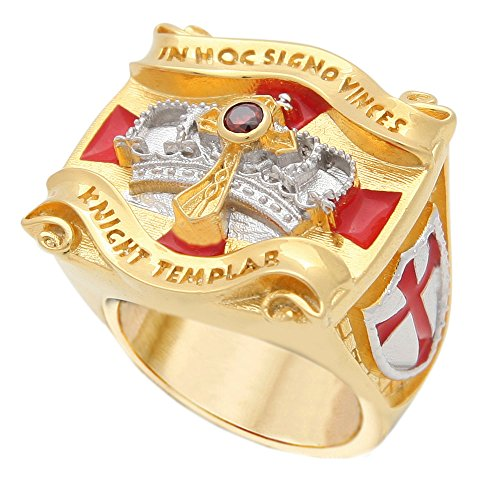 UNIQABLE Knight Templar Masonic Ring 18k Gold PLD Yellow Version Cross & Crown 45 Gr Handcrafted BR-1 (12)