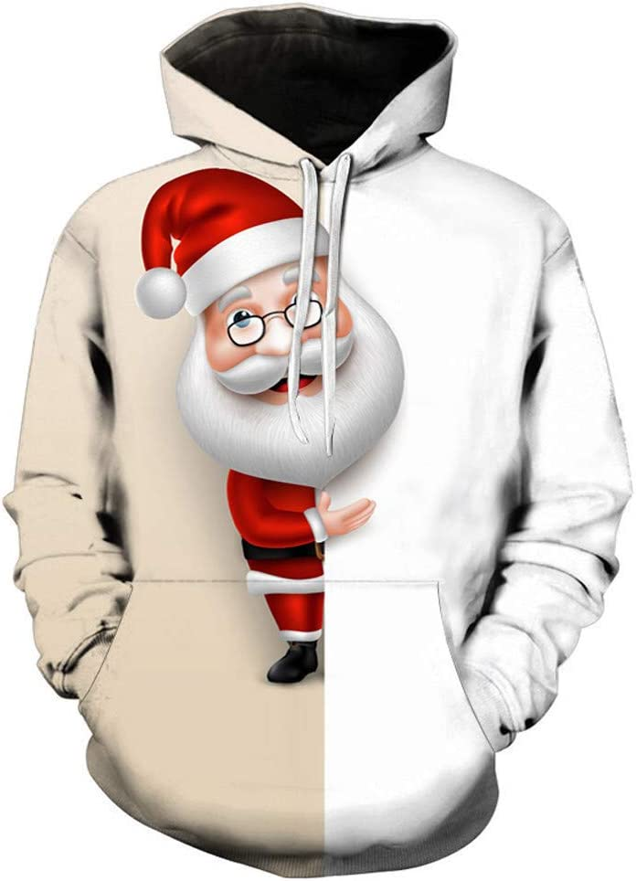 Thenlian Mens 3D Printed Christmas Sweater Pullover Long Sleeve Hooded Sweatshirt Tops Blouse