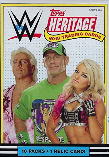 (2018 Topps Heritage WWE Wrestling Series Unopened Box of Packs with One GUARANTEED Authentic Relic Card Per Box plus 60 additional cards including Ric Flair Tribute Cards)