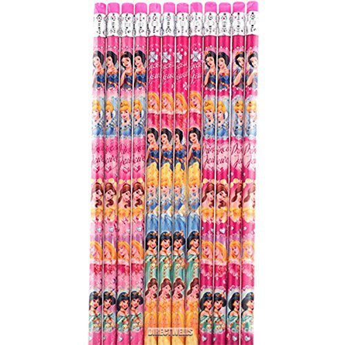 Disney Princess Authentic Licensed 12 Wood Pencils Pack