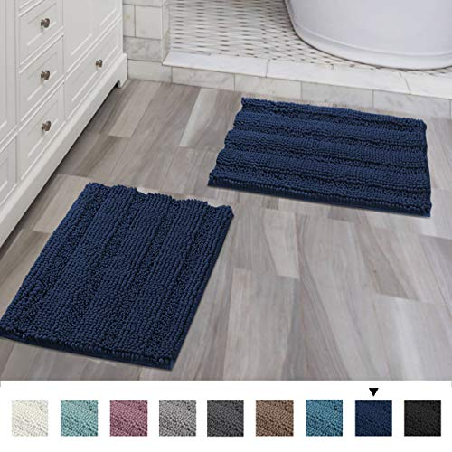 (Navy Blue Bathroom Rugs Ultra Thick and Soft Texture Chenille Plush Striped Floor Mats Hand Tufted Bath Rug with Non-slip Backing Microfiber Door Mat for Kitchen/Entryway (Pack 2-17