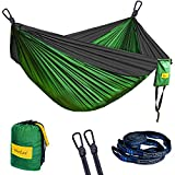 MorLee Single&Double Camping Hammock with Tree Straps,Max 500 lbs Capacity,Portable Parachute NylonHammock for Outdoor Backpacking,Garden,Beach,Hiking,Travel (Dark green/dark grey, 78''Wx118''L)